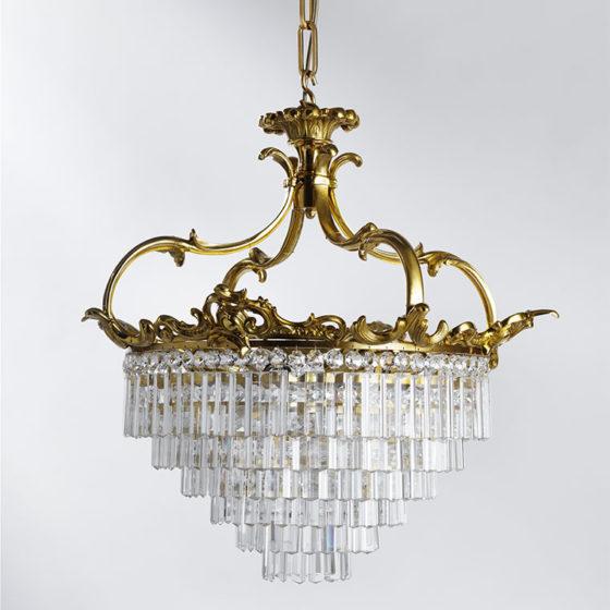 Art. 140/4 • Plafoniera Luigi XV, bronzo dorato e cristalli di Boemia • Ø 61, H 68