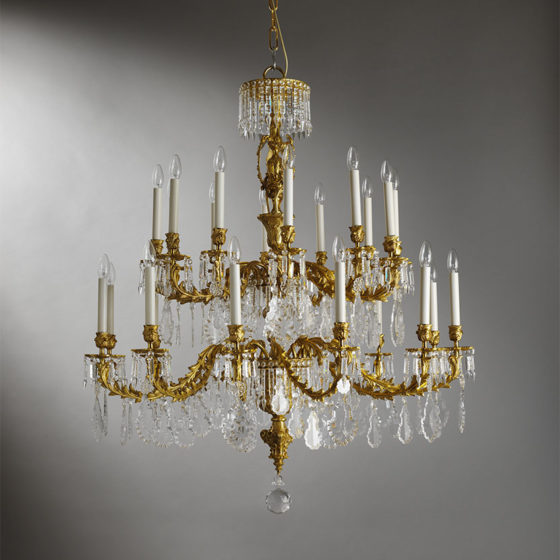 Art. 150/24 • Louis XV style artistic chandelier, gilded bronze and Bohemian crystal • Ø 110, H 125