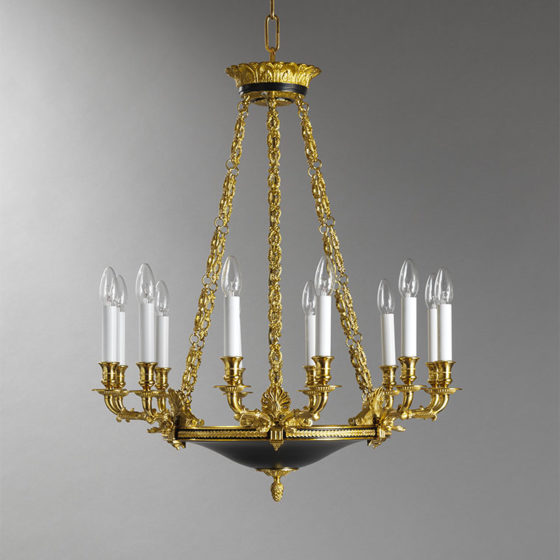Art. 155/12 • Empire style artistic chandelier, gilded bronze and enamel • Ø 70, H 80