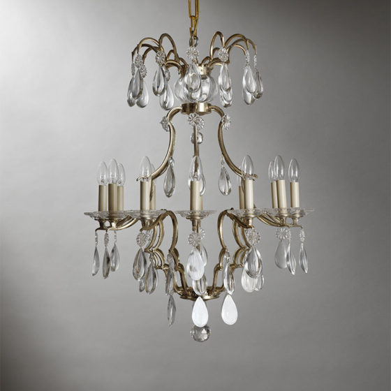 Art. 161/12 • Louis XIV style artistic chandelier, silvered bronze and Bohemian crystal • Ø 70, H 90