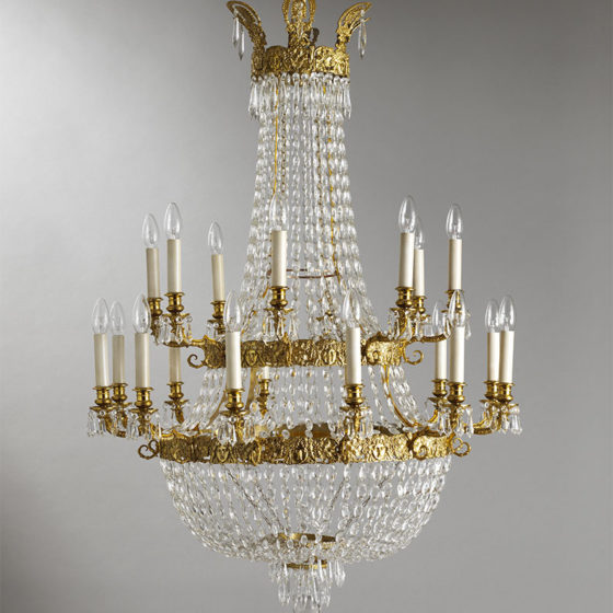 Art. 162/20 • Empire style artistic chandelier, gilded bronze and Bohemian crystal • Ø 86, H 115