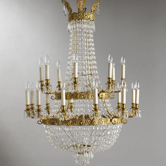 Art. 162/20 • Lampadario artistico Impero, bronzo dorato e cristalli di Boemia • Ø 86, H 115
