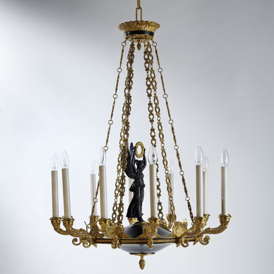 Art. 186/12 • Empire style artistic chandelier, gilded bronze and antique patina • Ø 76, H 100
