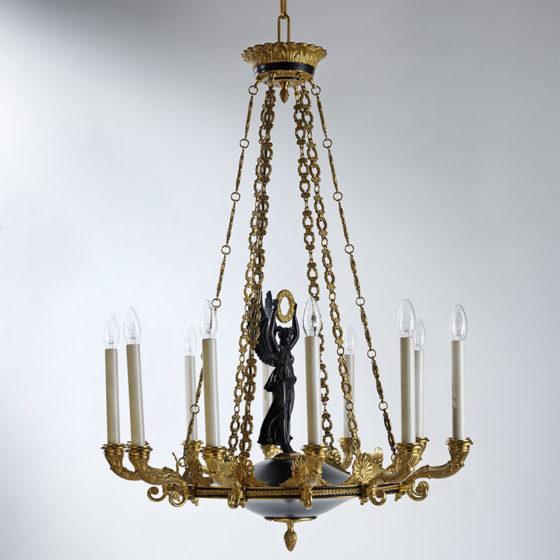 Art. 186/12 • Lampadario artistico Impero, bronzo dorato e patina antica • Ø 76, H 100