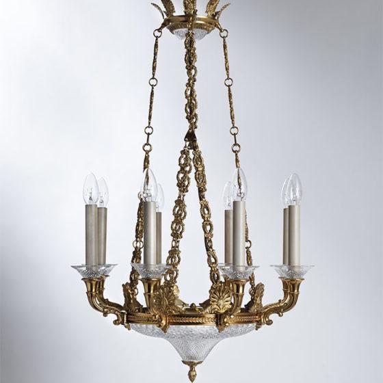 Art. 194/8 • Lampadario artistico Impero, bronzo dorato e cristallo diamantato • Ø 60, H 80
