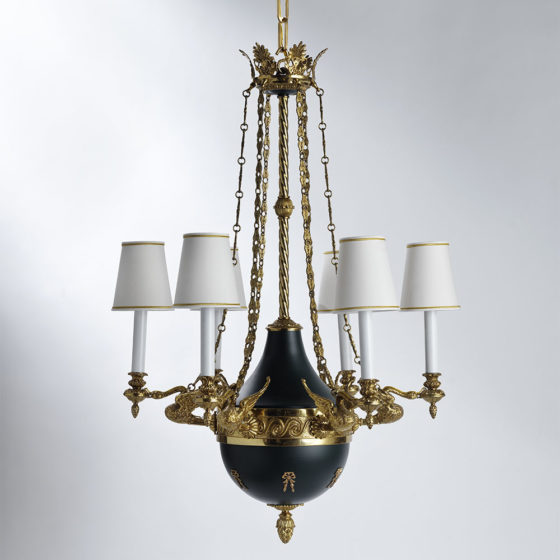 Art. 199/6 • Directoire style artistic chandelier, gilded bronze and enamel • Ø 70, H 90