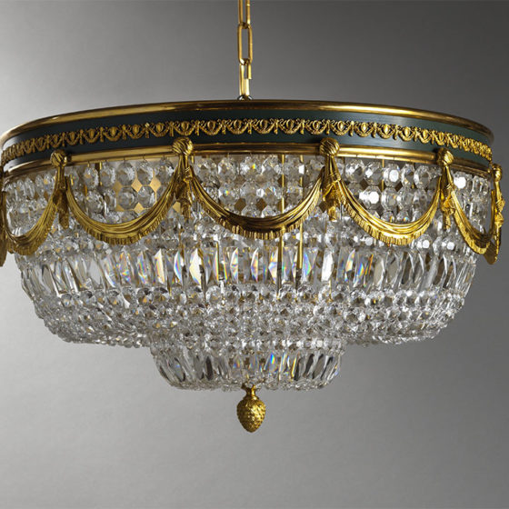 Art. 206/12 • English ceiling, gilded bronze and Bohemian crystal • Ø 80