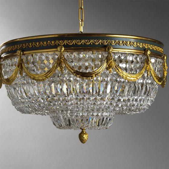 Art. 206/12 • Plafoniera inglese, bronzo dorato e cristalli di Boemia • Ø 80