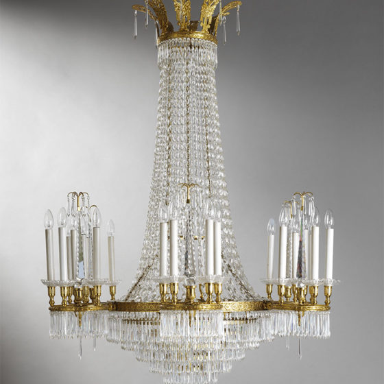 Art. 215/24 • Louis XVI style artistic chandelier, gilded bronze and Bohemian crystal • Ø 110 H 150