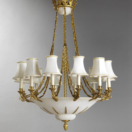 Art. 220/12 • Lampadario artistico, bronzo dorato e alabastro • Ø 80, H 105