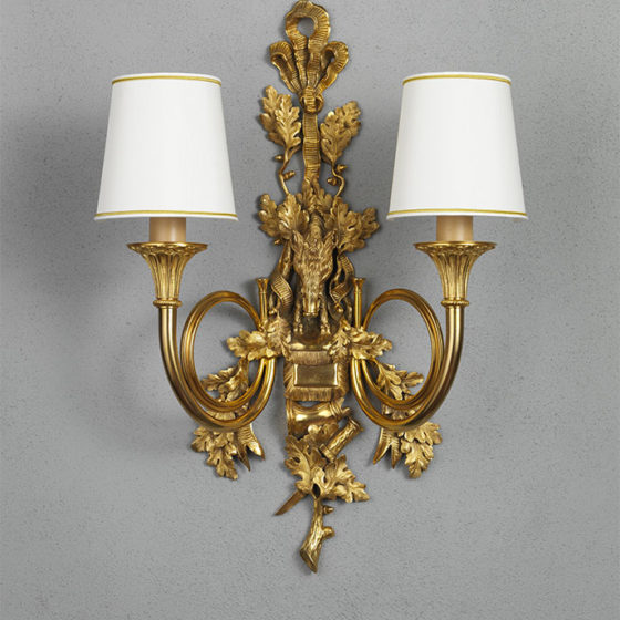"Art. A123/2 • Wall Sconces ""Cinghiale"", gilded bronze • L 50, H 75"