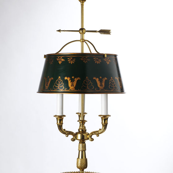 Art. L30/3 • Louis XVI style lamp, gilded bronze and tole • Ø 36, H 74