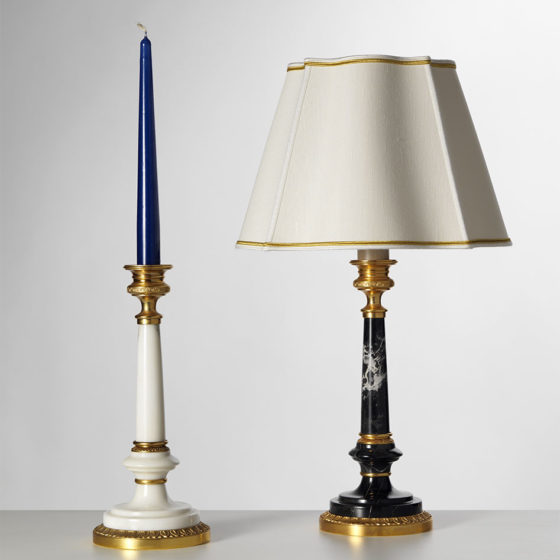 Art. L53/1 • Candlestick, gilded bronze and marble • H 49