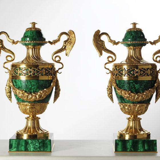 Art. L57 • Vaso in bronzo cesellato e malachite • Ø 38, H 56