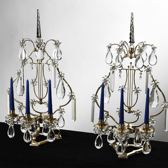 Art. L65/3 • Lyre, silvered bronze and Bohemian crystal • Ø 39, H 72