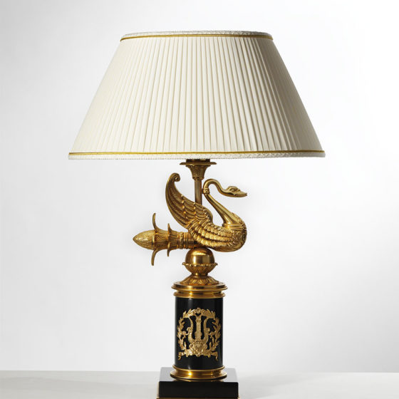 Art. L85/1 • Empire style lamp, gilded bronze and marble • Ø 40, H 61