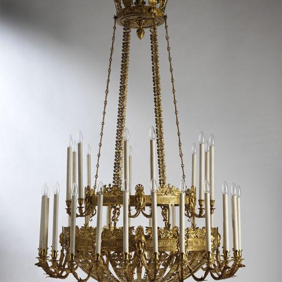 Art. RUSSIA 36 • Lampadario russo, bronzo dorato • Ø 120, H 190