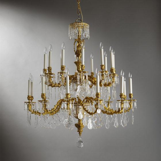 Art. 150/24 • Lampadario artistico Luigi XV, bronzo dorato e cristalli di Boemia • Ø 110, H 125